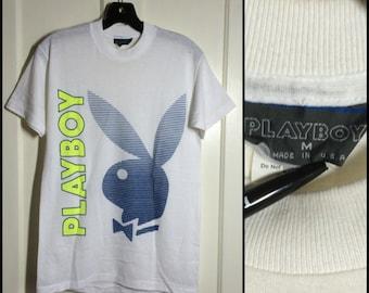 1980s Playboy Bunny Stripe Neon print thin tshirt size Medium thin white shirt