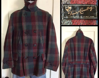 1920's 1930's Antique Vintage Car Coat Jacket Mackinaw back belt looks size Large Town and Country plaid
