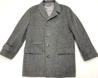 1960s plaid tweed overcoat looks size large by Keswick Downs gray check wool