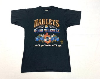 deadstock 1970s Harley Davidson whiskey 3D-Emblem t-shirt tag size medium looks XS 17x25 Cape Cod Screen Stars made in USA single stitch NOS