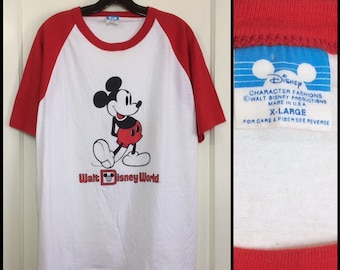 1980s Mickey Mouse Disney World baseball jersey t-shirt size XL 20.5x28.5 white red 2 tone Character Fashions made in USA