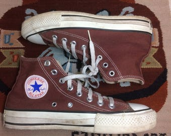 1990s Brown Converse Allstars size 6.5 made in USA Chuck Taylors chocolate Chucks hi tops canvas sneakers kicks basketball shoes punk skate