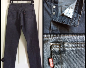 1980s faded black denim 501 Levi's Jeans 31x34, measures 29x32 Distressed Grunge Tall Boyfriend #1230