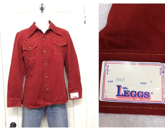 deadstock 1970s heavy brushed cotton snap shirt size large by Leggs rust orange western cowboy boho hippie NOS NWT