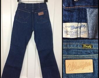 Vintage 1960's Wrangler Bell Bottoms dark wash Denim Indigo Blue Flare boyfriend Jeans 31X32, measures 31.5x30 #292