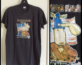 1970s Vintage MAD Magazine Captain Klutz T-shirt size Large comic cartoon artist Don Martin Iron On print black shirt 18.5x26.5