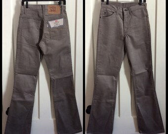 Vintage Deadstock Levi's 517 30X34 Light Gray Corduroy Mens 1980's Boot Cut Jeans NOS NWT #1520