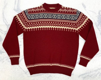 1980s LL Bean fair isle sweater looks size large wool burgundy red white blue winter ski holiday
