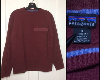 1990s wool Patagonia pullover ski sweater size small high gauge knit burgundy dark red maroon zipper pocket