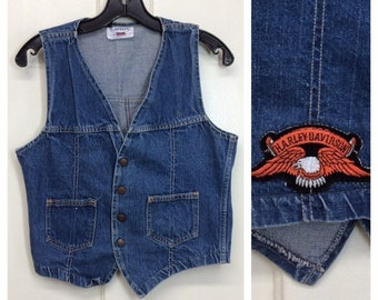 1970s Carter's denim blue jean biker vest Harley Davidson back patch size small 2 pocket