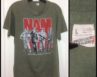 1980s Vietnam War Nam t-shirt size large 19.5x25.5 faded army green Screen Stars made in USA US military veterans soldiers tiger stripes