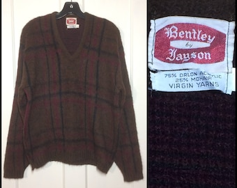 1950's mohair wool V-neck pullover fuzzy sweater size XL looks size large brown burgundy black plaid Bentley by Jayson