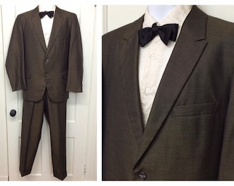 1960s brown black sharkskin 2 piece suit dinner jacket and slacks looks size medium cuffed trousers size 34x29 tapered leg Yale Genton