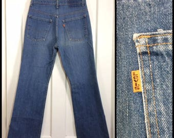 1970s Levi's 517 orange tab boot cut flare faded blue jeans 32x30, measures 30X30 Talon zipper made in USA boho hippie boyfriend #356