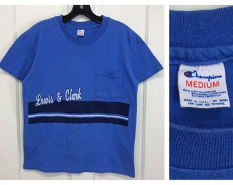 1980s Lewis and Clark Champion brand pocket tee striped t-shirt size medium 19x24 blue made in USA single stitch cotton