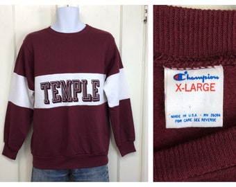 deadstock 1980s Temple University college school Champion brand sweatshirt size XL burgundy white 2 tone striped made in USA NOS