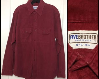1970s 5 Five Brother dark red heavy cotton chamois shirt size large made in USA burgundy maroon workwear