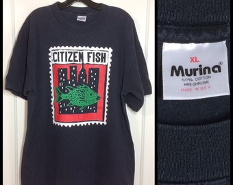 1990s Citizen Fish t-shirt size XL 22x29 made in USA 90s UK punk ska Subhumans