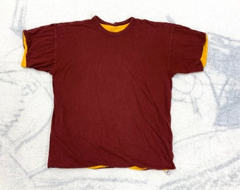 1970s Champion brand cotton reversible double t-shirt size XL, looks large 20x24 maroon yellow blue bar tag made in USA blank plain