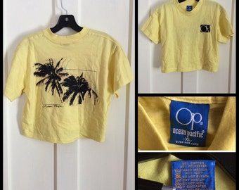 Vintage 1980's OP Tropics Palm Trees midriff crop top Surfer T-shirt Top size XL 18.5x17 1986