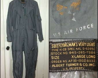 1950's USAF US AirForce very light summer flight suit K-2B aviator coveralls size XL Long black label golden letters Albert Turner Crown zip