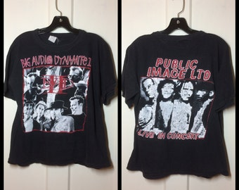 1980's Big Audio Dynamite the Clash Public Image Ltd Sex Pistols T-shirt size Large short 21x22 Punk Rock Johnny Rotten Mick Jones B.A.D. II