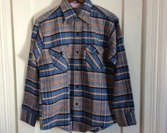 Deadstock 1960's Frostproof Plaid Heavy Flannel Shirt size Large Sanforized All Cotton NOS