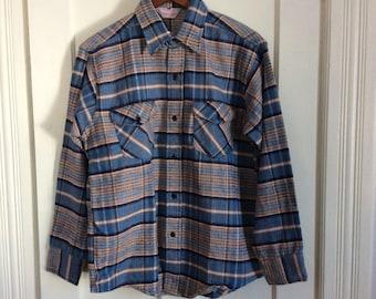 Deadstock 1960's Frostproof Plaid Heavy Flannel Shirt size Large Sanforized All Cotton NOS