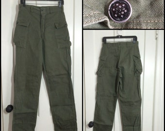 1950s Korean War Star Button US Military 2 side Pocket Fatigue Trousers 30X33 30 inch waist Green OG 107