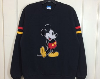 1980s Mickey Mouse black striped pullover sweatshirt with fuzzy flocked print size large Disney Character Fashions made in USA #2