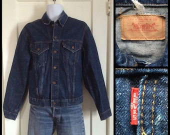 1960s LEVI'S Big E Indigo Blue Single Stitch 2 Pocket Denim Jean Jacket size Large Slim Fit #1876
