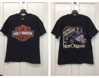 1990s 1995 Harley Davidson Motorcycle Bourbon St. New Orleans t-shirt size medium 19x25 black cotton single stitch made in USA logo print