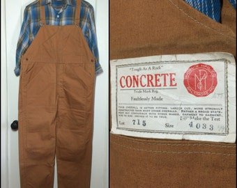 Deadstock collector 1930's Phoenix Mfg Co. Concrete duck cloth Overalls 44x31 XL Donut Hole Buttons reinforced thigh double stitch NOS NWT