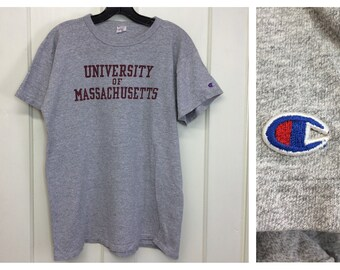 1980s UMASS University of Massachusetts Champion brand heather gray t-shirt size large 20x26 made in USA college sports gym cotton rayon