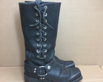 vintage tall harness boots looks size 8-8.5 narrow black leather customized lace up square toe boots made in USA