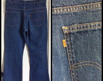 Vintage Levi's 646 38X31, measures 36x29 Dark Blue Denim Bell Bottom Flare Jeans #1225