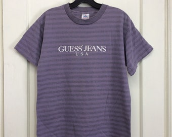 c3b48280e1 1980s purple striped Guess Jeans t-shirt size medium single stitched made  in USA possibly bootleg