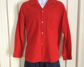 1950s Fire Engine Red Corduroy Loop collar shirt Mens size Medium Rockabilly