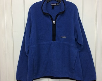 blue black Patagonia Synchilla fleece half zip pullover jacket size large hiking skiing camping sherpa