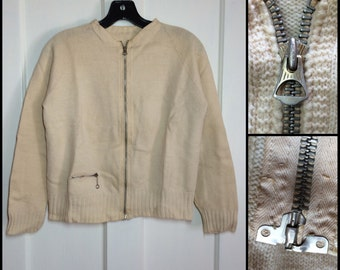 1930s Antique zip up cardigan fantail Talon Grommet zipper looks size Small cream with 2 pleats in back