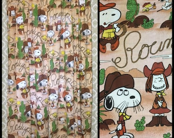 1970's Peanuts Snoopy Woodstock Peppermint Patty character Cowboy desert cactus 82 inch long pair curtains brown door length bedroom #2