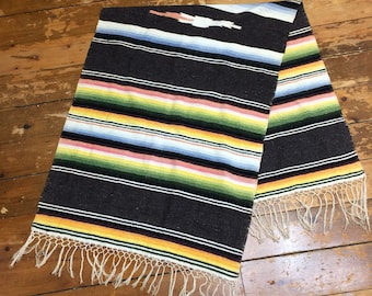 Mexican Saltillo serape handwoven wool blend runner rug blanket 23x58 inch dark gray colorful pastel rainbow striped wallhanging