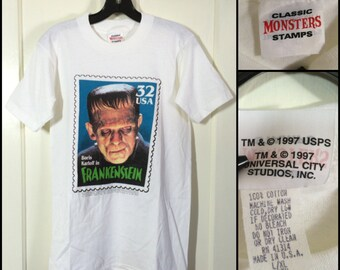 1990s Frankenstein Boris Karloff 32 cent Classic Monsters collector Stamp white all cotton T-shirt boy's size 18x28 barely used made in USA