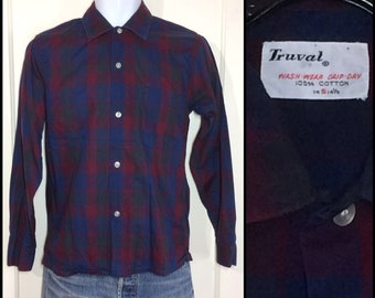 1950s 1960s Truval dark blue burgundy olive green buffalo plaid cotton shirt size small rockabilly beatnik grunge punk