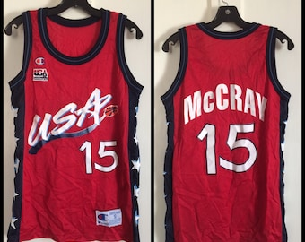 1990's USA Olympics Basketball Team McCray number 15 Champion made in USA Jersey Tank size Small Red White Blue Stars #15