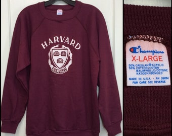 1980s Harvard University Ivy League college school emblem Champion brand sweatshirt size XL burgundy crimson possibly deadstock made in USA
