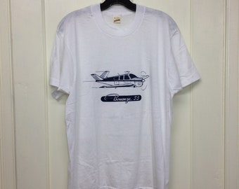 deadstock 1980s Beechcraft Bonanza 35 small vintage airplane t-shirt size large 20x27 pilot aircraft thin white Screen Stars made in USA NOS