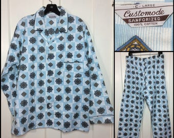1950's Deadstock soft cotton flannel patterned pajamas light blue white diamond printed size C large Customode Sanforized nos