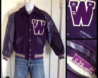 1970's W Varsity Baseball Wool Bomber High School College Football Letter Jacket looks size Small to Medium Royal Purple
