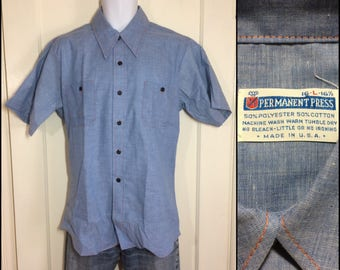 deadstock 1970's blue chambray work shirt size Large nos permanent press short sleeve orange stitching made in USA
